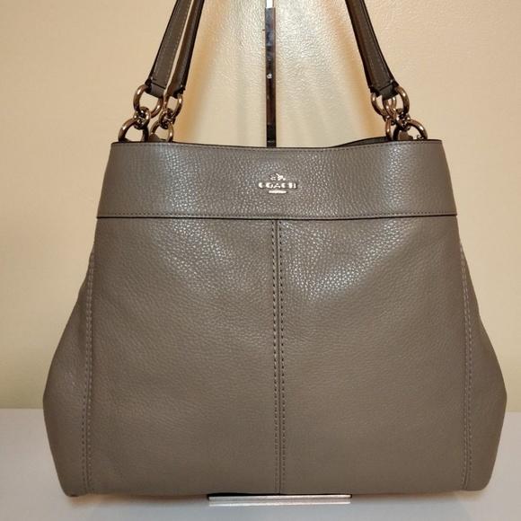 22f32073a0a9 Coach Lexy Fog Grey Leather Tote Hobo Bag F27593